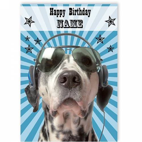 Happy Birthday Dog Headphones Card
