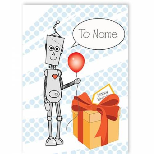 Robot Balloon Personalised Birthday Card