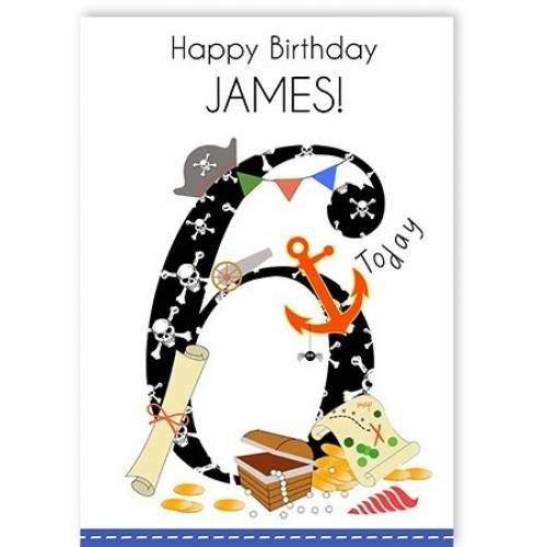 Happy 6th Birthday Pirate Card