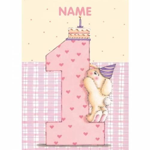 Rabbit Pink Birthday 1st Birthday Card