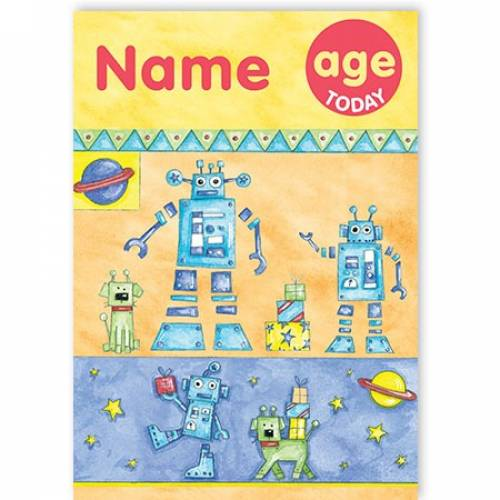 Any Age Robot Birthday Card