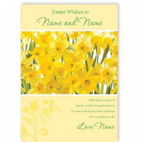 Easter Wishes Daffodils Easter Card