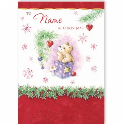 Bear With Present At Christmas Card