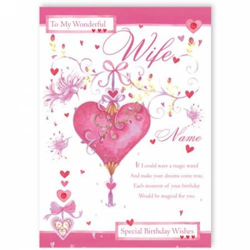 Wonderful Wife Special Birthday Wishes Card