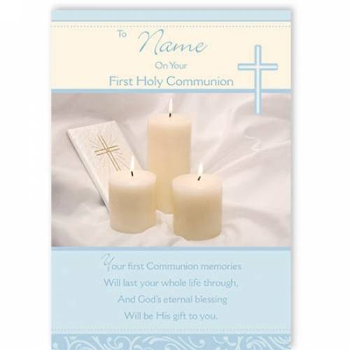 Blue On Your First Holy Communion Card