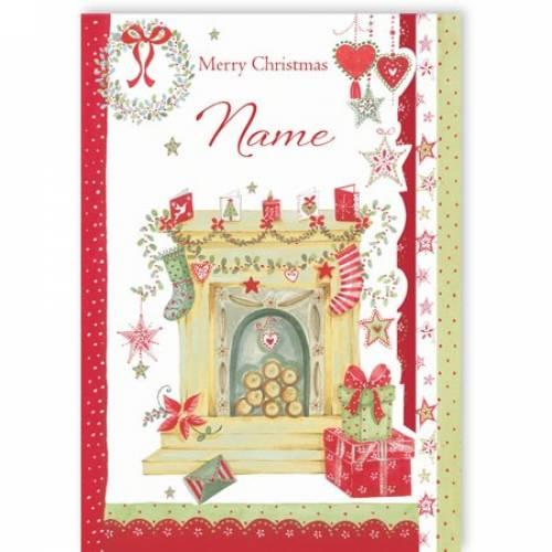 Fireplace Merry Christmas Card
