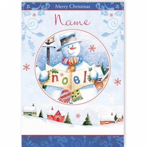 Noel Snowman Merry Christmas Card