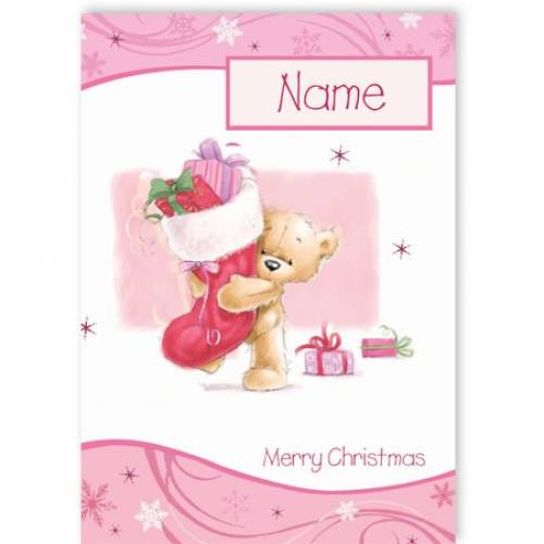 Bear With Filled Christmas Stocking Christmas Card