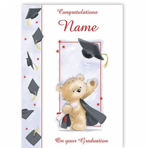 Bear & Mortarboard Congratulations Graduation Card