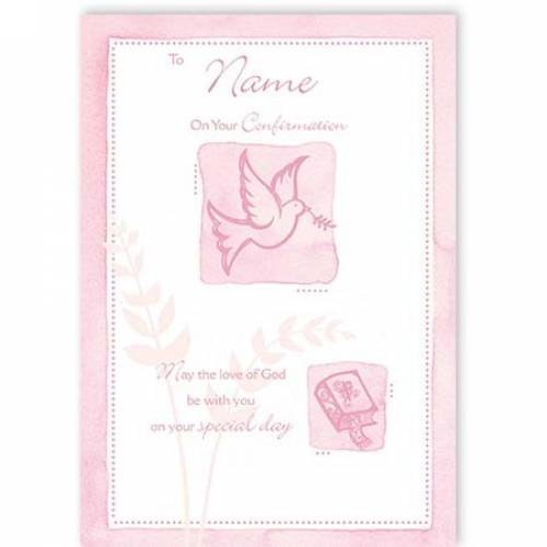 Pink Dove & Cross Confirmation Card