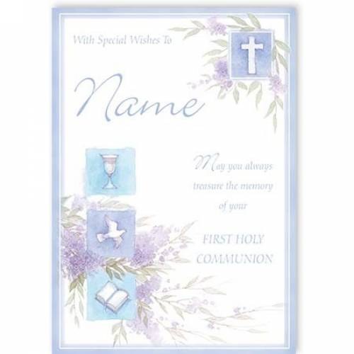 Blue Treasure The Memory Of Your First Holy Communion Card