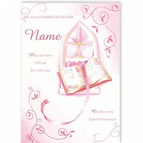 Pink Girl On Your Confirmation Day Card