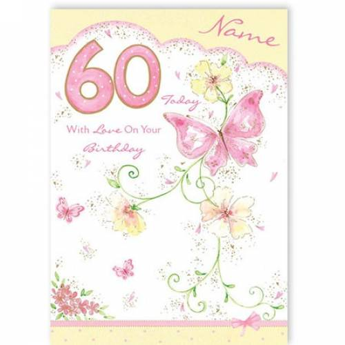 Butterfly Happy 60th Birthday Card