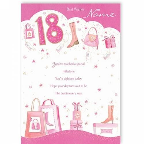 Girl Shopping Happy 18th Birthday Card