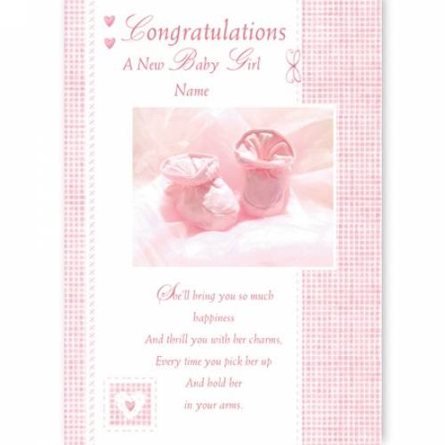 Congratulations On The Birth Baby Girl Pink Baby Card