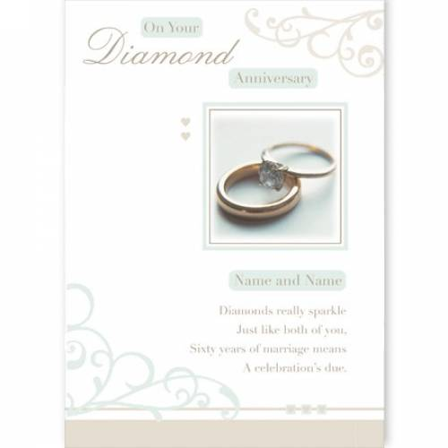 Rings Congratulations On Your Diamond Anniversary Card