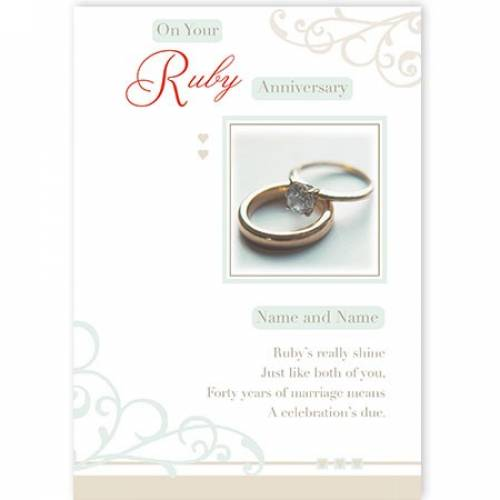 Rings Congratulations On Your Ruby Anniversary Card