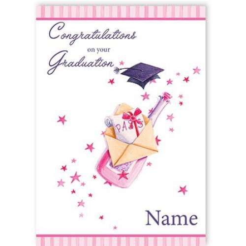 Pink Champagne & Mortarboard Congratulations On Your Graduation Card