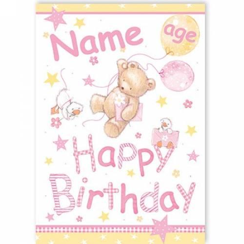 Bear Age Happy Birthday Card