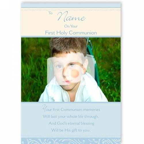 To Name On Your First Holy Communion Photo Blue Card