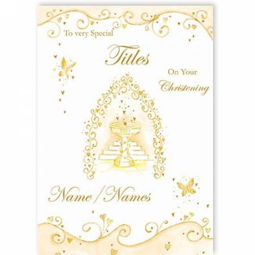 Special Any Relation Neutral Butterflies On Your Christening Card