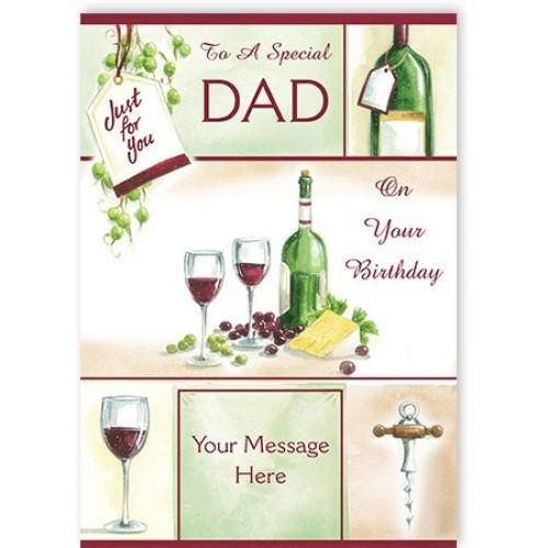 Dad Birthday Wine And Grapes Card