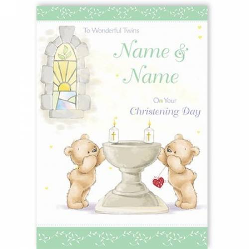 Bears With Chalice Christening Card
