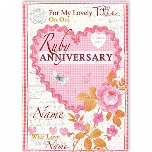 Ruby Anniversary Heart And Flowers Card