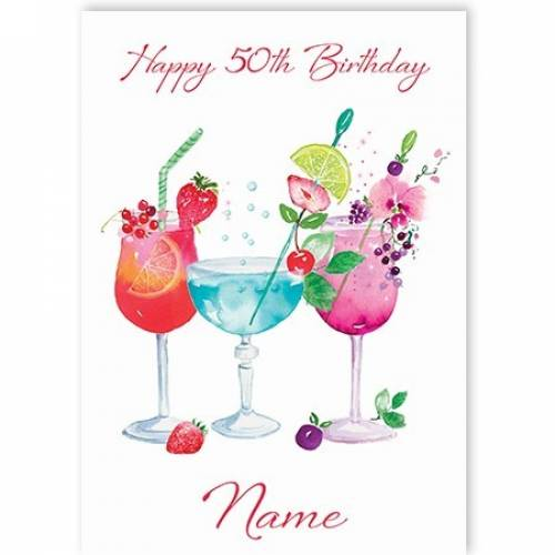Cocktails 50th Birthday Card