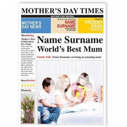 Name And Photo Worlds Best Mum Card