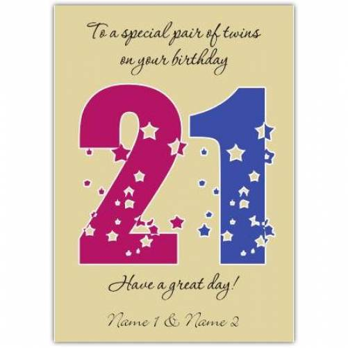 Special Pair Of Twins 21st Happy Birthday Card