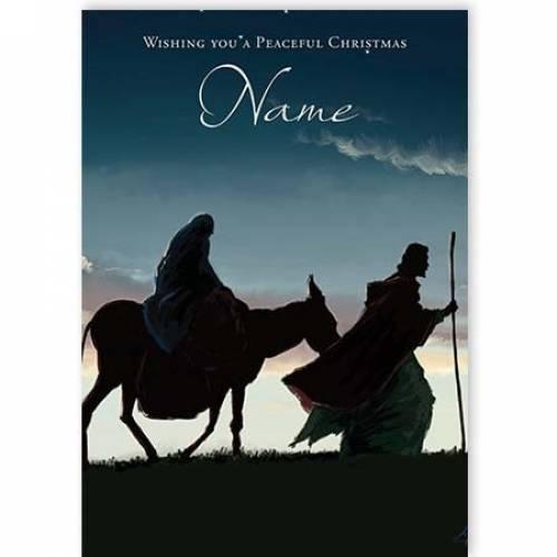 Mary & Joseph On Donkey Christmas Card