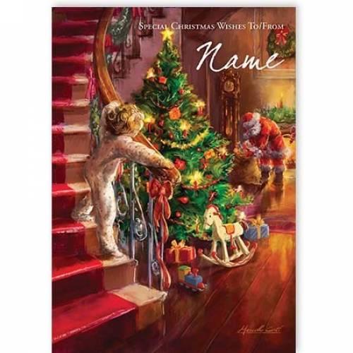 Child Sees Santa Illustration Christmas Card