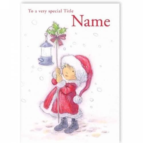 Girl Holding Lantern Christmas Card