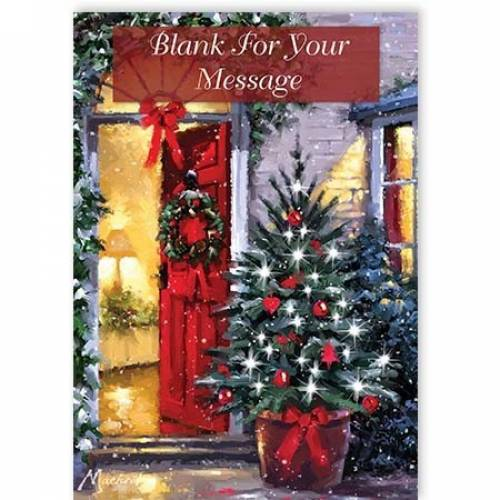 Any Message Red Door Christmas Card