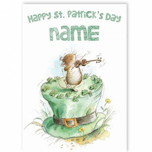 Mouse Playing Fiddle St Patrick's Day Card