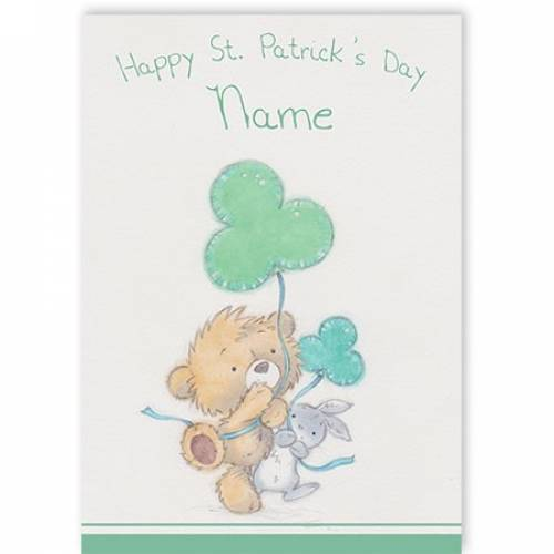 Teddy & Rabbit With Shamrock St Patricks Day Card