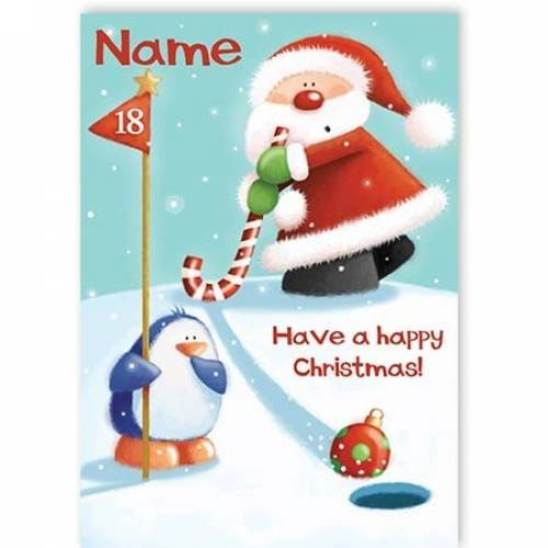 Santa Playing Golf Have A Happy Christmas Card