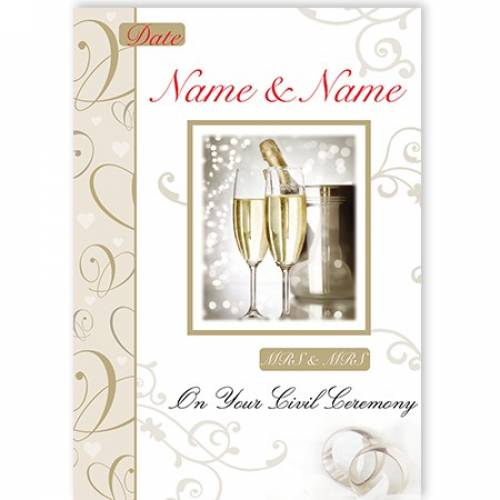 Mrs & Mrs Champagne & Flutes On Your Civil Ceremony Card
