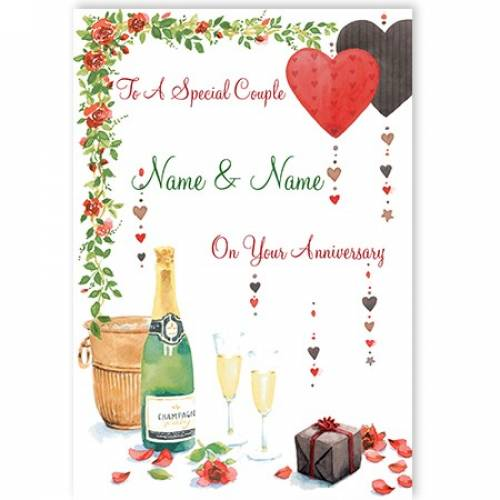 To A Special Couple Name And Name On Your Anniversary Champagne Card
