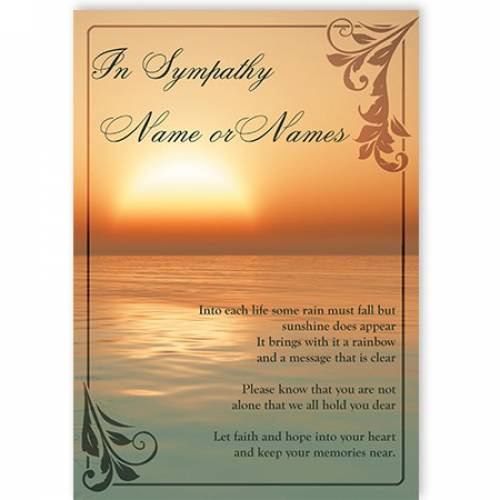 In Sympathy Sunset Card
