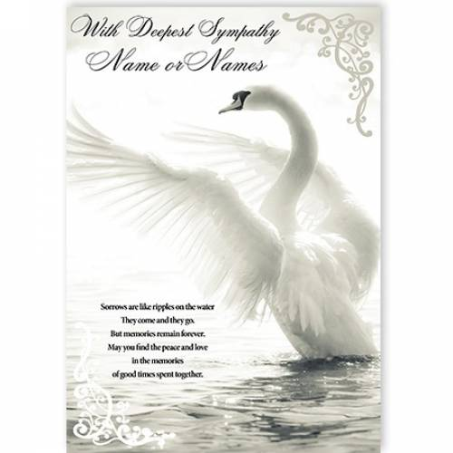 With Deepest Sympathy Swam Card