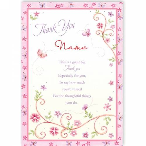 Thank You Name Flowers Leaves Card