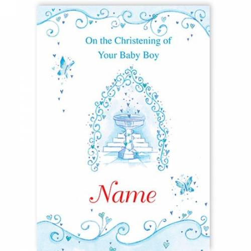 Christening Blue On Your Baby Boy Card