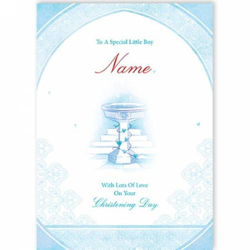Special Little Boy Blue On Your Christening Day Card