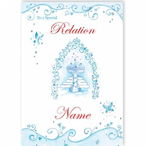 Special Any Relation Butterflies Blue On Your Christening Card