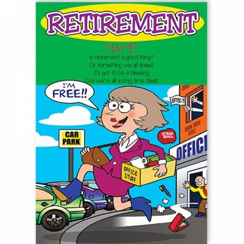 Female Cartoon Retirement Greeting Card