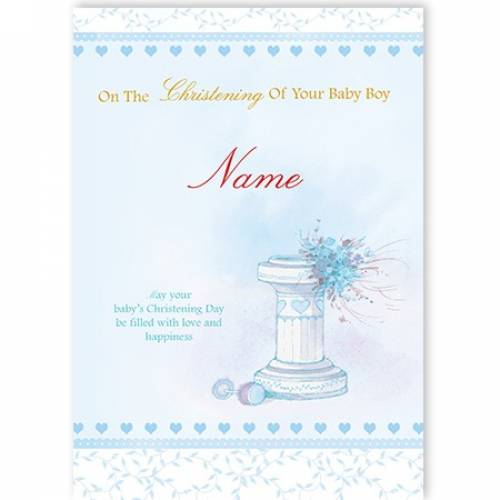 Christening Baby Boy Water Font Card