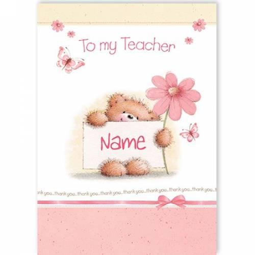 To My Teacher Teddy Card