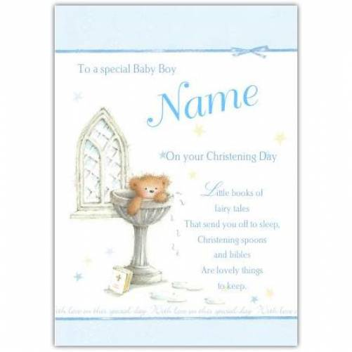 Christening Baby Boy Teddy Water Font Card